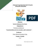 Caracteristicas de La Escuela y Contexto.