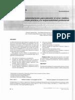 Recomendaciones Prevenir Error Medico