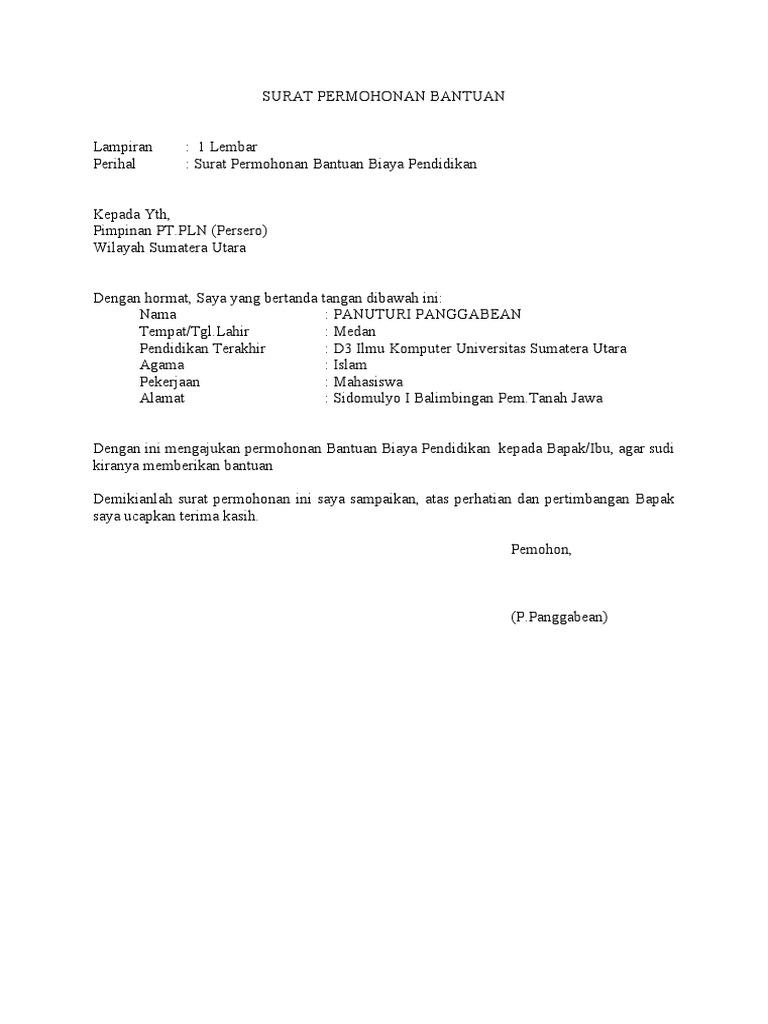 Surat Permohonan Bantuan