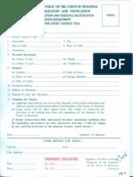 Application for Entry Tourist Visa