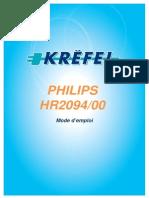 Recettes Philips HR2094