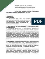 Modelo de Notas Explicativas Aplicáveis à Microempresa e as Empresas de Pequeno Porte