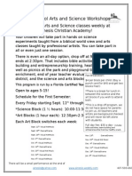 Homeschool Arts and Science Workshops 2015
