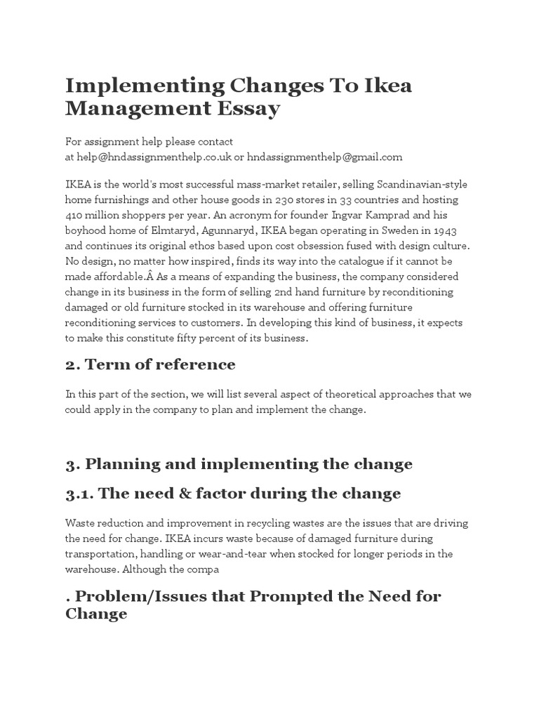 implementing change paper essay What types of obstacles/objections do leaders face from stakeholders when implementing change within an organization what strategies can leaders use to work with stakeholders, remove obstacles, and address objections.