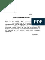 Custodian Certificate