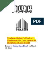 Moulana Jalalpuri - Finalization of a Case Against the Blasphemy of Zaid Hamid