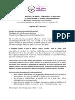 Comunicado Asociación de mujeres Sanjuaneras -AGIMS-