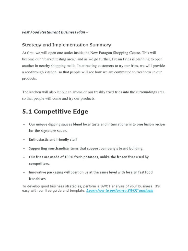Fast Food Restaurant Business Plan   Strategy And Implementation Summary |  Marketing | Strategic Management