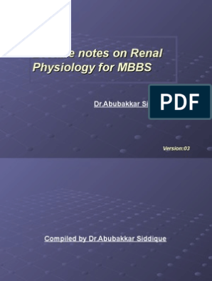 Lecture Notes on Renal Physiology for MBBS | Kidney | Renal Function