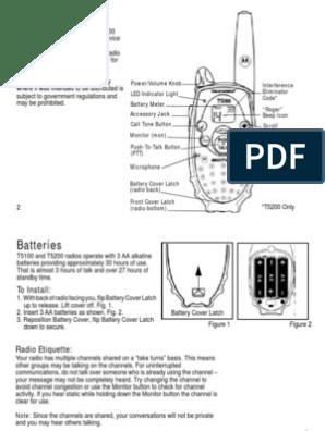 Motorola T5100 & T5200 Two Way Radio User Manual | Radio