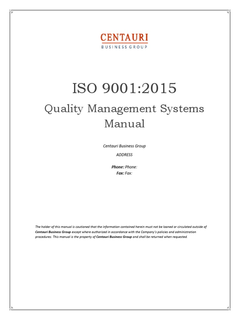 Logistics ISO 9001 Quality Manual Example – Quality Manual Template
