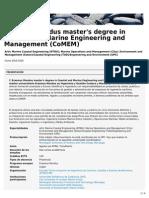 Erasmus Mundus Master's Degree in Coastal and Marine Engineering and Management (CoMEM) (ETSECCPB)