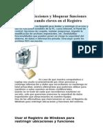 Crear Restricciones y Bloquear Funciones en La PC Creando Claves en El Registro