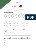 Nastavni listić iz matematike 1.razred