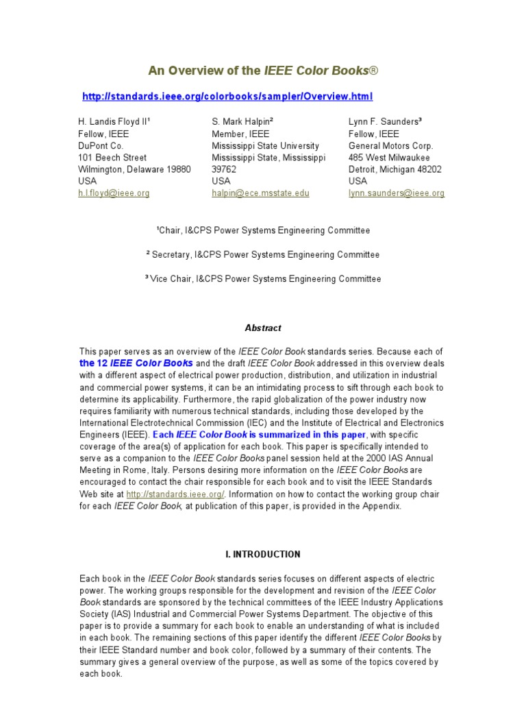 overview of ieee color books reliability engineering electric power system - Ieee Color Books