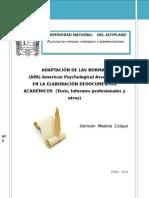Adaptación de Las Normas Modelo Apa Para Trabajos de Investigacion 2014
