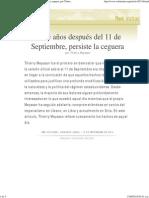 Trece Años Después Del 11 de Septiembre, Persiste La Ceguera, Por Thierry Meyssan