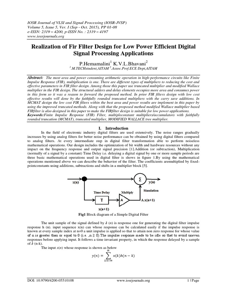 Realization Of Fir Filter Design For Low Power Efficient Digital Schematic Diagram 9790 Signal Processing Applications Multiplication