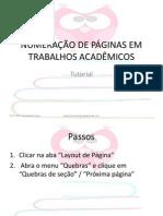 Numeração de Páginas Em Trabalhos Acadêmicos