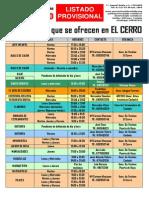 Listado PROVISIONAL de las actividades que se ofrecen en el Centro Cívico El Cerro de Coslada