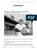 Yogi Berra El Catcher Sin Careta Por Mari Montes