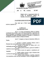 2007_Dispõe Sobre a Organização Básica Do Corpo de Bombeiros Da Paraíba
