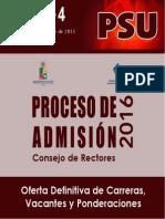 Cruch - Demre Listado Oficial de Oferta de Carreras Para 2016 en Ues Chilenas