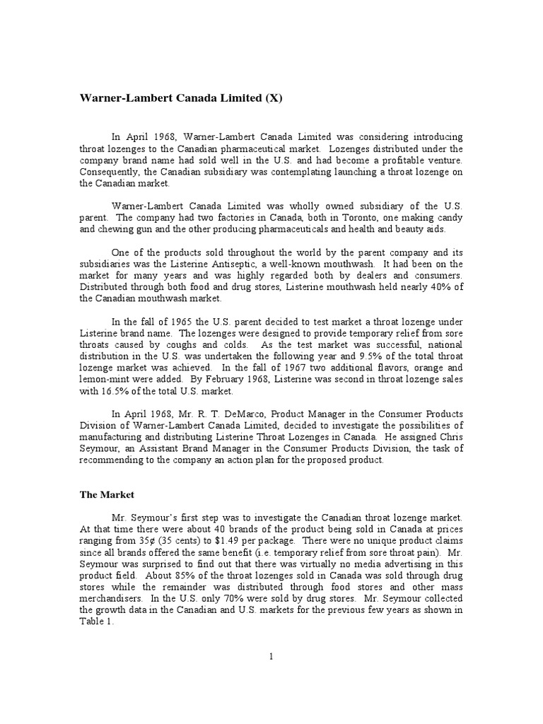 warner lambert case study