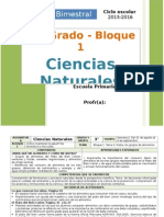 Plan 3er Grado - Bloque 1 Ciencias Naturales (2015-2016)