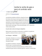 Bolivia Aumenta La Venta de Gas a Argentina Pero El Contrato Será
