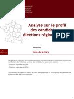 Analyse des candidatures aux élections régionales