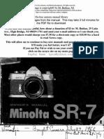 Minolta Sr 7 instruction manual