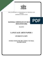 NCSE 2006 Language Arts Paper 1 Students Copy