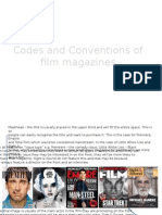 Codes and Conventions of Film Magazines