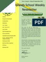 Uplands School Weekly Newsletter - Term 1 Issue 6 - 25 September 2015 Final