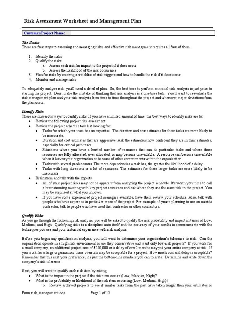 Worksheets Risk Analysis Worksheet risk assessment worksheet and management plan strategic planning