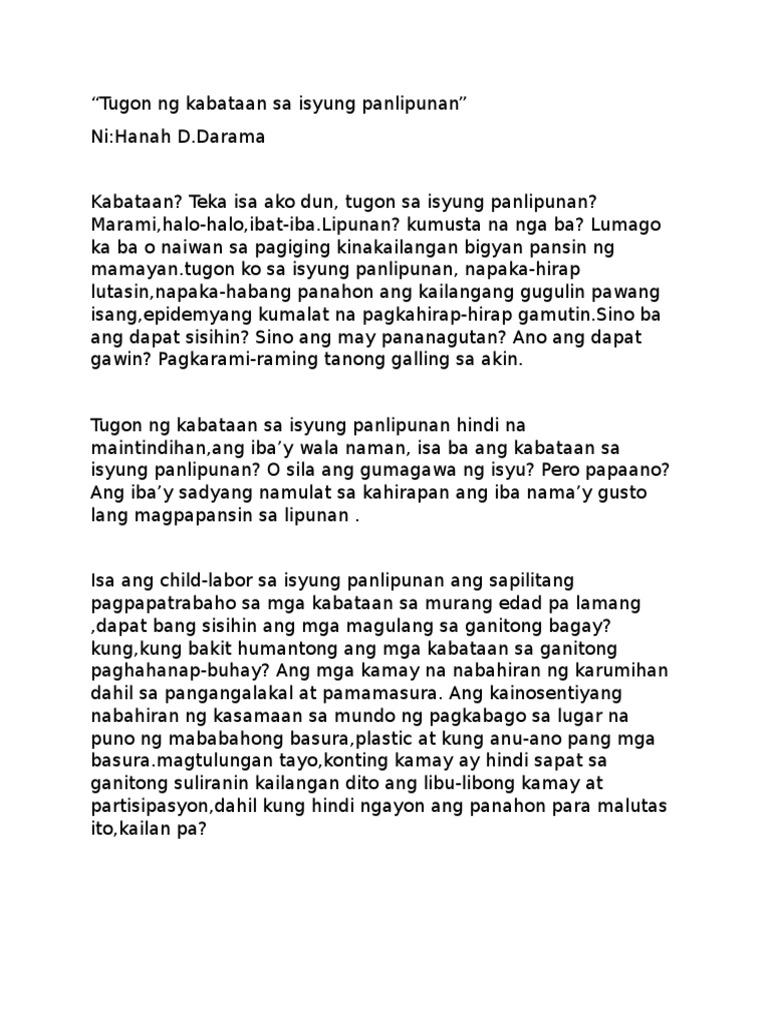 Tugon ng mga Kabataan sa Isyu NG Lipunan