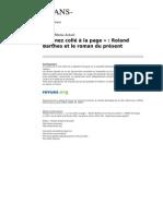Trans 135 3 Le Nez Colle a La Page Roland Barthes Et Le Roman Du Present