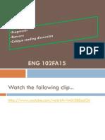 Eng102FA15.9.24 Fragments Runons CritiqueReadingDiscussion