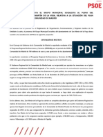 Propuesta relativa a la situación del Plan PRISMA 2008-2011