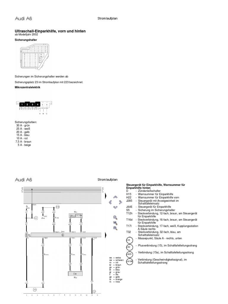 Audi A6 4B PDC-Stromlaufplan