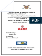 A Project Report on Marketing yamaha -Prateek Kapil
