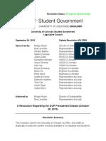 CU Student Government GOP Debate Resolution
