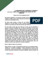 Discurso Michelle Bachelet Ante Council of the Americas - Septiembre 2015