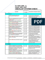OHSAS 18001 and ISO 14001 System Checklist