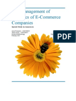 Management of logistics for E-commerce companies