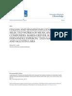 """Italian and Spanish Influence on Selected Works of Mexican Composers - María Grever, Ignacio Fernández Esperón """"Tata Nacho"""" and Agustín Lara"""