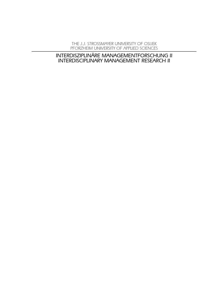 Interdisciplinary Management Research II | Transition Economy ...