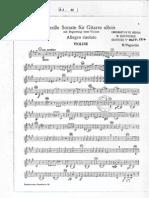 Paganini Sonate Pour Guitare Solo en La Accompagnement Violon Violon