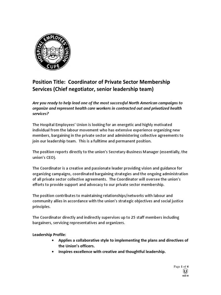 Heu Job Posting Trade Union Collective Bargaining
